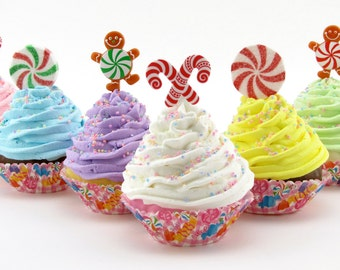 Candy Land Fake Cupcake Your Choice of 1 Standard Cupcakes Candy Land Birthday/Christmas Decor Gingerbread Men/Candy Canes/Peppermint Candy