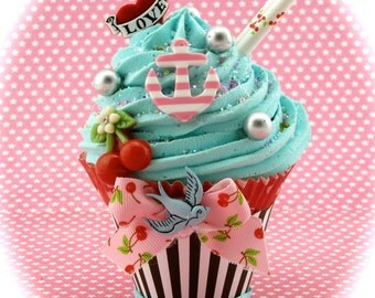 Fake Cupcake Anchor, Cherries and Heart Rockabilly Vintage Tattoo Inspired Decor Can Be Photo or Business Card Holder Fab Birthday Gift