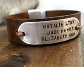Personalized Mens Hidden Message Bracelet  Genuine Leather, Aluminum Mens Bracelet