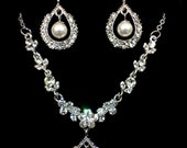 Pearl Bridal Jewelry Set, Vines Bridal Necklace, Dangle Earrings, Swarovski Crystal Jewelry, BELLA