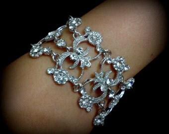 Statement Bridal Bracelet, Victorian Wedding Bracelet, Swarovski Crystal Bracelet, Vintage Wedding Jewelry, Silver Bracelet, ARMANIA