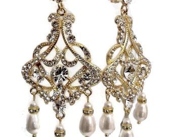 Chandelier Bridal Earrings, Gatsby Wedding Earrings, Art Deco Wedding Jewelry, Silver or Gold Earrings, Swarovski Bridal Jewelry, CHANTELLES