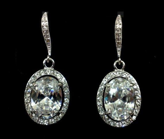 Oval Bridal Earrings, Cubic Zirconia Earrings, Swarovski Crystal Wedding Jewelry, OVAL