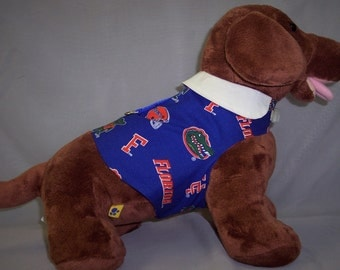 PET HARNESS FLORIDA Print Shirt With White Accent Collar (Large)