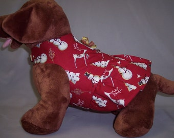 PET CLOTHES HARNESS Snowman Reindeer Christmas Tree Print Dress With Gold Bow