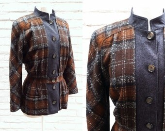 ON SALE - Vintage VALENTINO Autumn Brown and Gray Plaid Wool Jacket // Italy