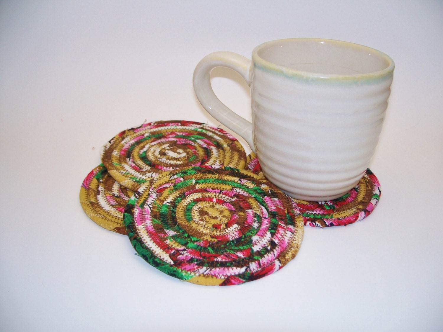 Multicolor Coiled Fabric Coasters Set of 4 by Bonbonsandmore