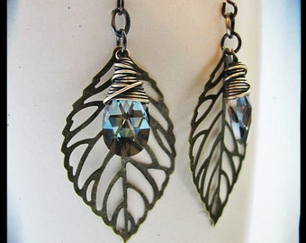 Brass Filigree Leaf and Bronze Shade Crystal Earrings