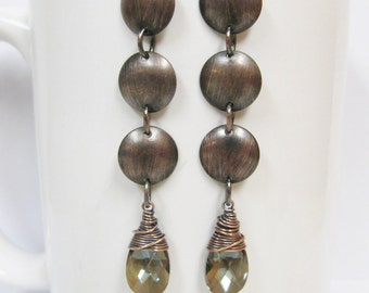 Long Antique Copper Domed Disc Earrings with Wire Wrapped Bronze Crystals