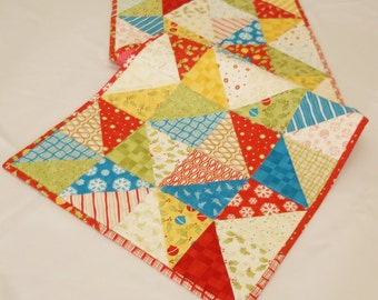 Christmas Table Runner / Quilted / Modern / Merry & Bright / Red / Green / Blue/ Yellow / Cream