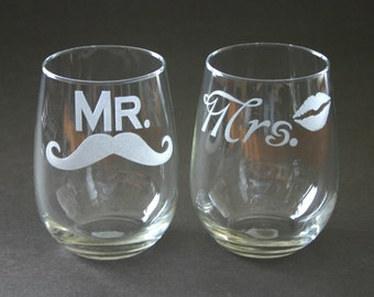 Mr Mrs His and Hers Etched Stemless Wine Glasses Mustache Lips Engraved Weddings