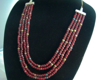 Leather Strung 4 Strand Red Beaded Necklace