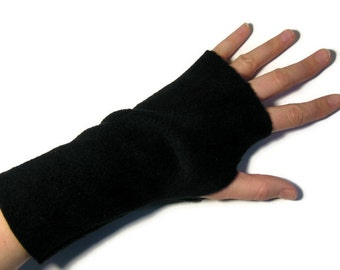 Black Fleece Fingerless Gloves / Mittens for LADIES - Arm hand warmers