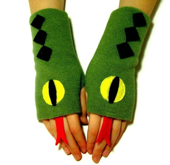 Fingerless Gloves for ADULTS - Snakes (Ladies or Mens size S - XL) - Fleece Hand  / Wrist  / Arm  / Fingerless Mittens / Costume