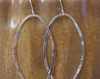 Hand Forged Metal Jewelry | Hammered Oval Earrings, Fine Sterling Silver, Gift, Christmas, Birthday, Teen, Anniversary,