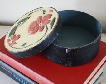 Vintage Wooden Cheese Box with Lid Enamel Relief Painted Floral Design Round Shaker Style