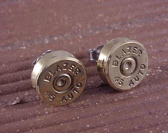 Bullet Earrings 45 Auto Brass Shell