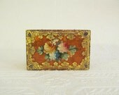 Italian Gold Trinket Box Hand Painted Flowers Florence