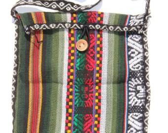 Vintage Boho Purse Hippie Festival Bag Cross Body Serape Fabric and Wooden Button