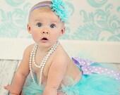 Birthday tutu, Aqua lavender tutu set { Ocean Lilac } polka dot bow, First Birthday, Cake Smash, spring, unicorn, baby girl photography prop