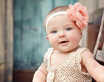 Peach lace baby headband { Pretty peach } soft vintage chiffon lace flower headband, summer headband, cake smash baby girl photography prop