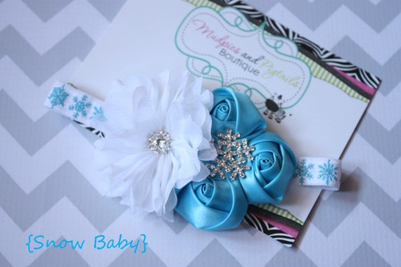 Winter Christmas baby headband, Snow Baby, winter silver, aqua blue, white shabby Flower Headband, first christmas photography prop