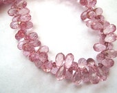 Pink Quartz Gemstone, Faceted Teardrop Briolette, 8mm.  Semi Precious Gemstone. Your Choice Packet. (aQPK1).
