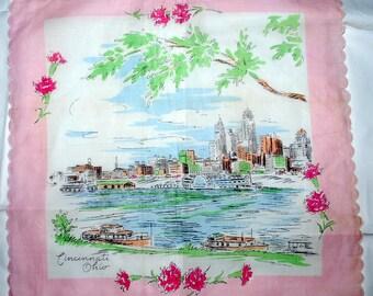 Vintage Souvenir Handkerchief-Cincinnati Ohio