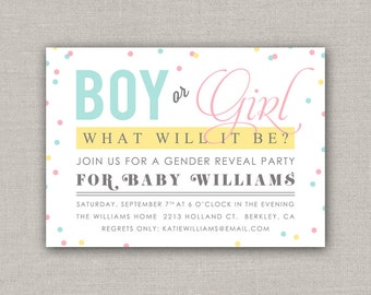 Confetti Gender Reveal Invitation