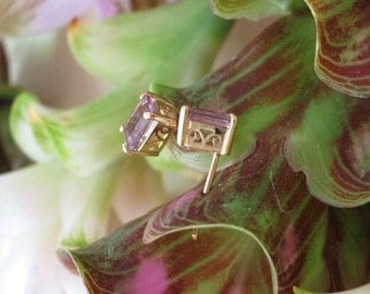 Rose de France Emerald Cut Gemstones in 14k Yellow Gold Handforged Earring Settings, Ready to Ship