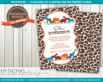Zoo Animals Birthday Invitation: Boys Birthday Party - Safari Birthday - Zoo Party - Digital - Printable - Brown/Orange - #107b