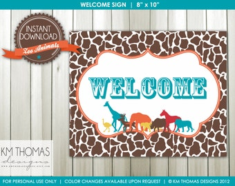INSTANT DOWNLOAD - Zoo Animals: Welcome Sign and Happy Birthday Sign - Item 107b