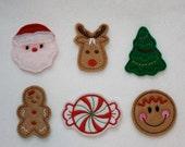 Christmas Felt Applique - Set of 6 (Santa, Rudolph, Christmas Tree, Gingerbread Girl, Peppermint, Gingerbread Girl Face)
