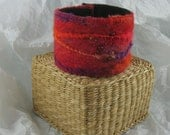 Red Orange Purple felted cuff bracelet