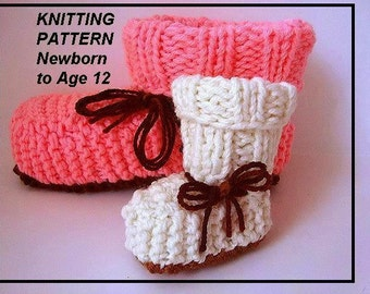 Knitting Pattern - baby booties or children's slippers, sizes from newborn to age 12, #626-Child - Cuffed knit booties, children's clothing