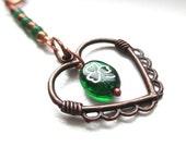 St Patricks Day Bookmark Emerald Green Shamrock Antique Copper Heart