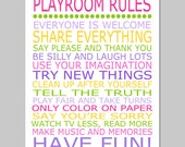 Playroom Rules - 8x10 Quote Print - Modern Nursery Childrens Decor - Kids Wall Art - CHOOSE YOUR COLORS