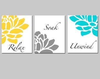 Floral Bathroom Art - Set of Three 11x14 Prints - Relax, Soak, Unwind - Flowers - Petals - Bathtub - Spa - Choose Your Colors
