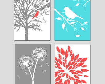 Coral Aqua Gray Nature Nursery Art - Set Four 11x14 Prints - Bird in Tree, Bird on Branch, Dandelions, Abstract Floral - CHOOSE YOUR COLORS