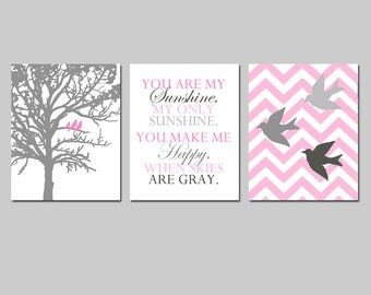 Baby Girl Nursery Art Trio - Set of Three 8x10 Prints - Chevron Birds, You Are My Sunshine, Three Birds in a Tree - Choose Your Colors
