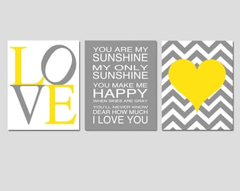 Nursery Art Trio - Set of Three 11x14 Prints - You Are My Sunshine, LOVE, Chevron Heart - Choose Your Colors - Shown in Yellow and Gray