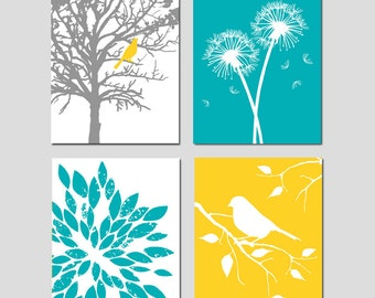 Yellow Turquoise Nursery Art Quad - Bird in a Tree, Bird on a Branch, Dandelions, Abstract Floral - Set of Four 8x10 - CHOOSE YOUR COLORS