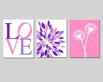 Pink and Purple Nursery Decor Purple and Pink Nursery Art Set of 3 Nursery Prints - Love, Abstract Flower, Dandelions - CHOOSE YOUR COLORS