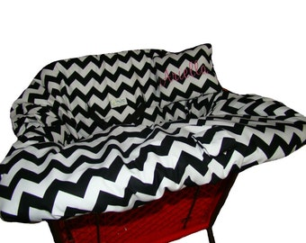 Shopping Cart Cover for baby or toddler girl  - Restaurant High Chair Cover - Padded Grocery Cart Seat Cover - Black and White Chevron