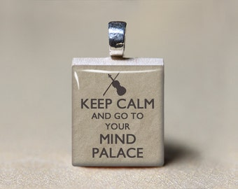 Sherlock Jewelry, Sherlock Holmes Necklace, Scrabble Tile Pendant, Keep Calm and Go To Your Mind Palace, Sherlock Gift, Geekery, Sherlocked