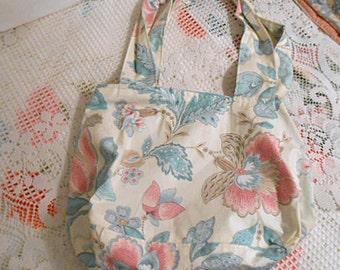 Roomy BLUE PINK & TAN Shoulder Bag, Pastel Girlie Peony Crewel Flower Print on Ivory Polished Cotton, Soft Purse Sturdy Handles Pocket