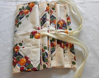 4 CLOTH NAPKIN SILVERWARE Roll Up Keepers, Vibrant Red Gold Apples Lattice Print, Picnic Basket Accent, Watch Keeper Ribbons Altered Linen