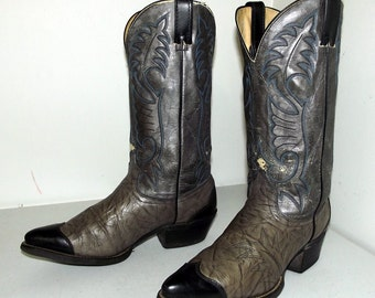 Vintage grey and black Wrangler cowboy boots- size 9 EE or cowgirl size 10.5  wide width