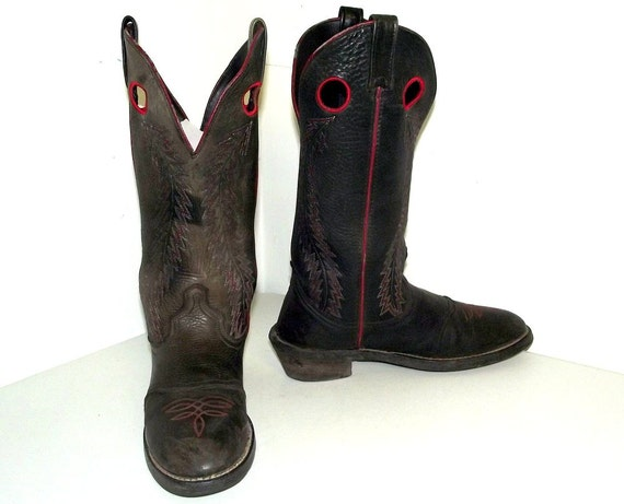distressed black leather cowboy boots mens by