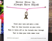 Never Give Up Always Have Hope - Hope Ribbon Charm - Wish Bracelet - Shown In PERFECT PINK - Over 100 Different Colors Are Also Available
